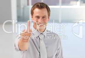 Young Businessman with Thumb up to the camera