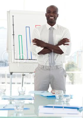 Business teacher standing before his class