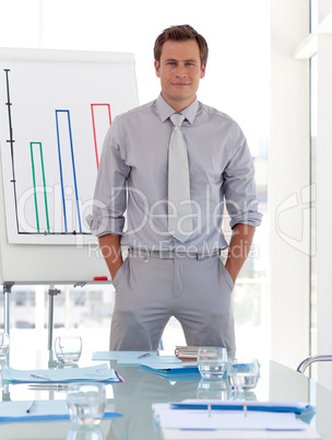 Business teacher standing before class