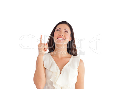 Young Beautiful Business woman pointing upwards
