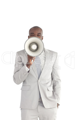 Businessman shouting in a Megaphone