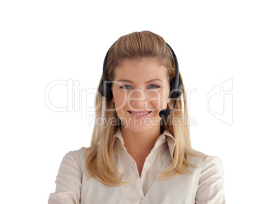 Business woman on a headset