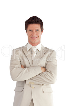 Businessman with Folded arms Isolated against white