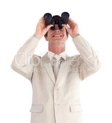 Businessman looking Upwards ahead through a binoculars