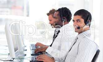 Young Man working in a call centre