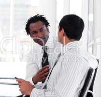 Two Business people interacting