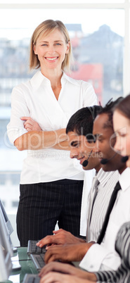 Female Businesswoman showing strong leadership