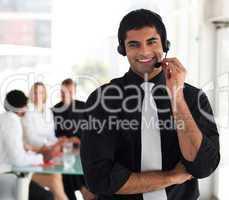 Man smiling on headset