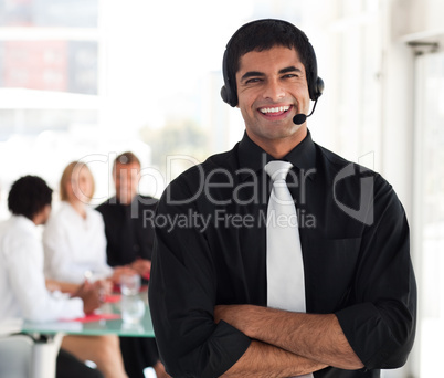 Business man being positive