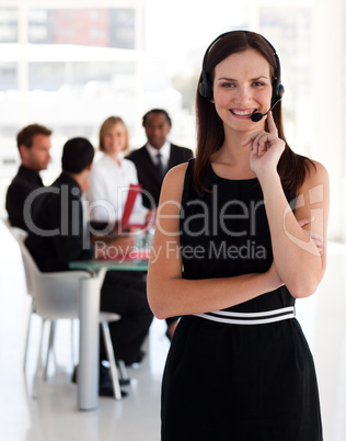 Business woman with headset on