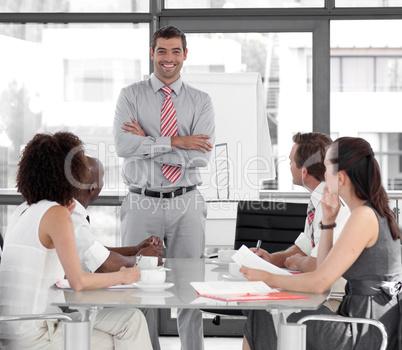 Businessman giving a presentation