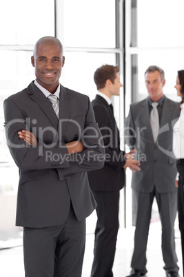 african-america Businessman in Front of Team