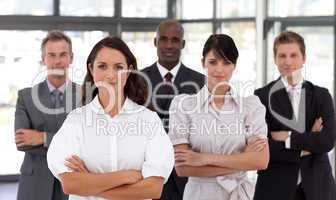 Potrait of a Confident Business woman leading a team