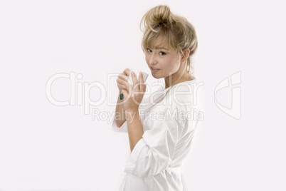 blond woman with a cup of tea