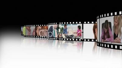 Filmstreifen mit arbeitenden Menschen