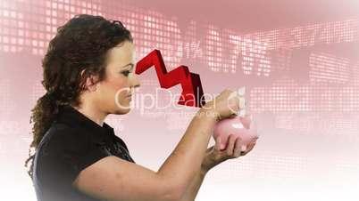 Münzeinwurf in Sparschwein