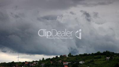 Storm sky over village