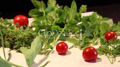 Kräuterteller mit versch Gartenkräutern und Tomaten