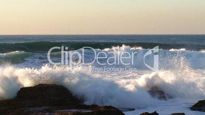 Big waves against rock