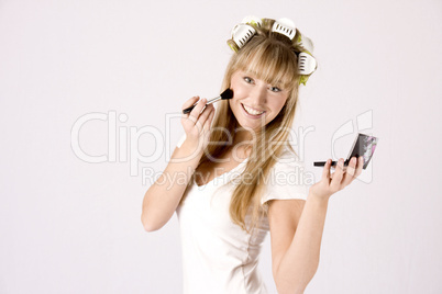 young woman with makeup box