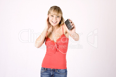 young blond woman with mp3-player