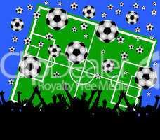 fussballfeld mit fans - blauer hintergrund