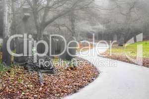 Misty early morning graveyard