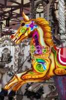 Colorful fairground carousel horse