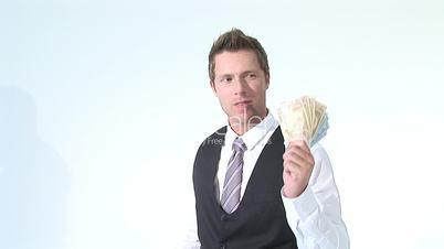 HD1080i Junger erfolgreicher Geschäftsmann mit Geldscheinen