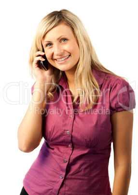 Happy Woman talking on a mobile Phone