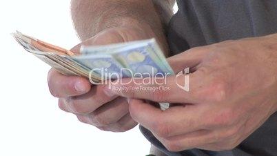 HD1080i Junger Mann zählt die Geldscheine