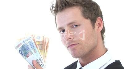 HD1080i Junger Geschäftsmann mit Geldscheinen