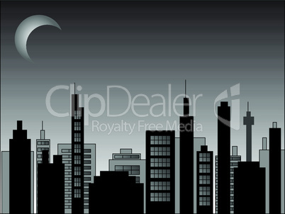 Vector cityscape scene at night