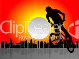 Silhouette of a biker boy on cityscape illustration