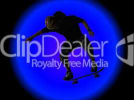 Skateboarder silhouetted