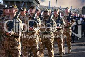 Irish Guards marching after coming home from Iraq