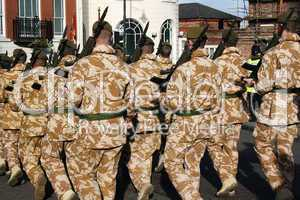 Irish Guards marching in Liverpool after coming home from a tour of duty in Iraq