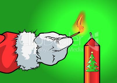 Weihnachtsmann zündet eine Kerze an