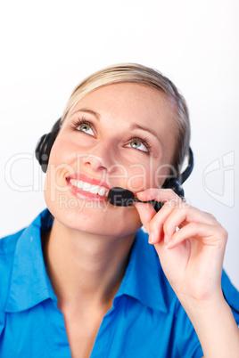 Porträt einer jungen  Frau mit Headset