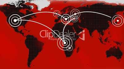 Rot- schwarze Weltkarte