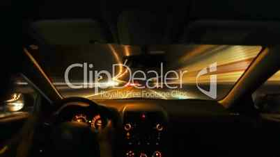 Night driving timelapse from car interior