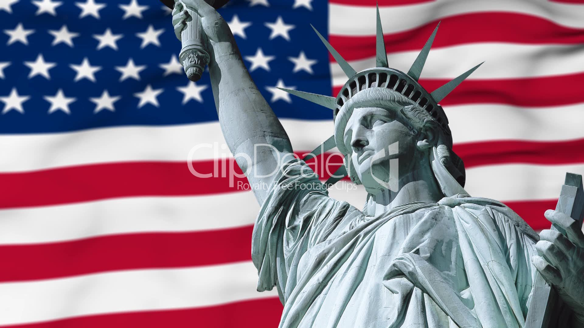 statue of liberty ans usa flag  royalty