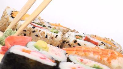 Sushi against white