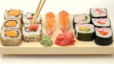 Eating sushi time lapse