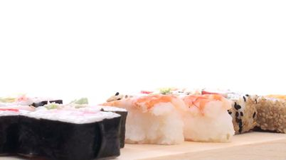 sushi on wooden tray with copy space