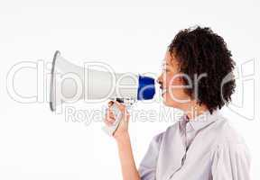 Businesswoman speaking through megaphone