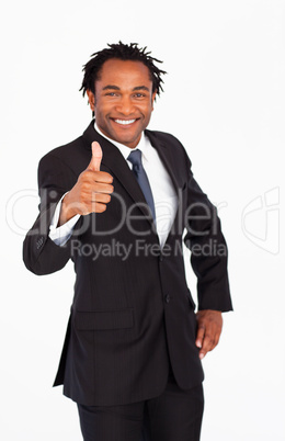 Handsome businessman with thumb up