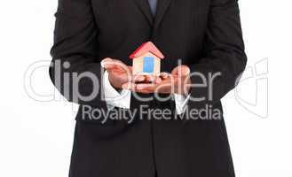 Businessman offering house