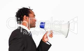Business announcement through megaphone