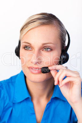 Beautiful woman with a headset on